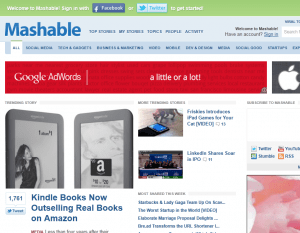 Mashable.com homepage