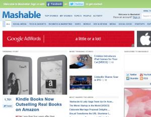 Mashable.com homepage